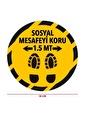 Artikel Sosyal Mesafe Uyarı Etiket Sticker-35 Yuvarlak 50 Cm Renkli